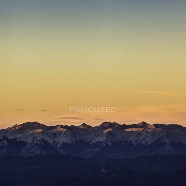 Por do sol vista da Cordilheira dos Andes, Parque Nacional Nahuel Huapi, Rio Negro, Argentina — Fotografia de Stock
