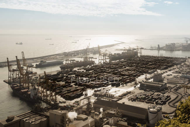 Elevated view of port ships and cranes, Barcelona, Spain — Stock Photo