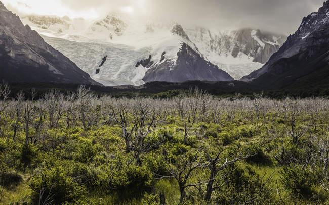 Paysage de la vallée avec des nuages bas sur la neige des montagnes dans le Parc National Los Glaciares, Patagonie, Argentine enneigées — Photo de stock