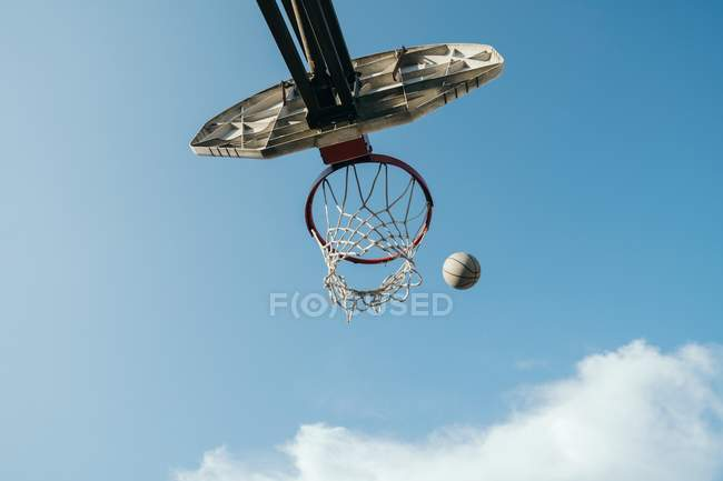 View from below basketball net and basketball — Stock Photo