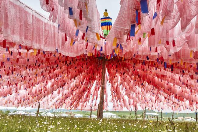 Рядки рожевий молитовні прапори на Waqietalin храм, Сичуань, Китай — стокове фото