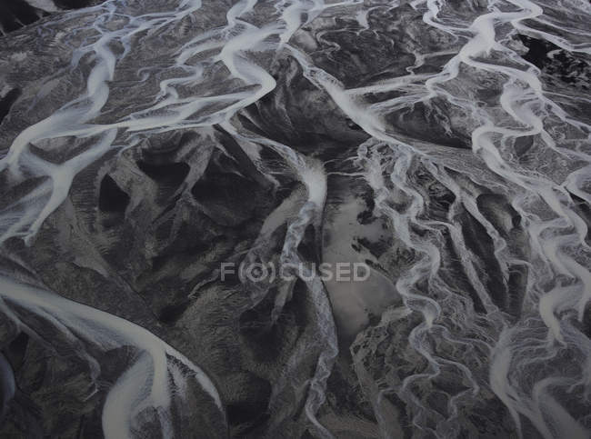 Aerial view of glacial rivers, majestic nature background — Stock Photo
