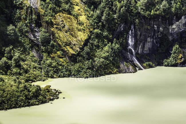 Detalle de acantilados rocosos y Lago Verde, Parque Nacional Queulat, Chile - foto de stock