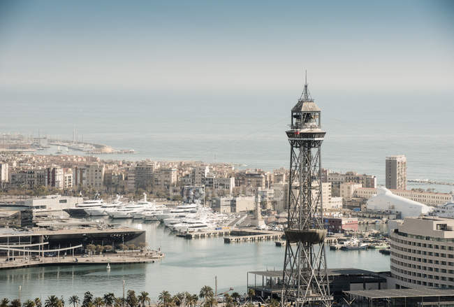 Elevated view of coastal harbour and superyachts, Barcelona, Spain — Stock Photo