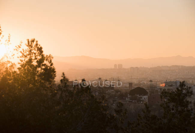 Sun setting, Barcelona, Catalonia, Spain — Stock Photo