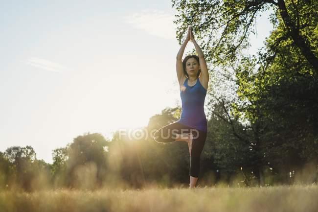 Reife Frau im Park, balancierend auf einem Bein, in Yogaposition, Blick in den niedrigen Winkel — Stockfoto