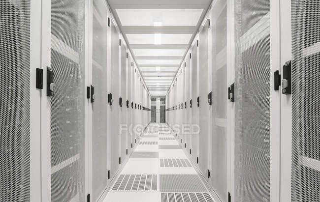 View of white corridor of data center — Stock Photo