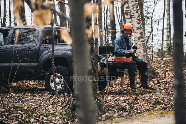 Male logger sitting on pick up truck and holding protective gloves — Stock Photo