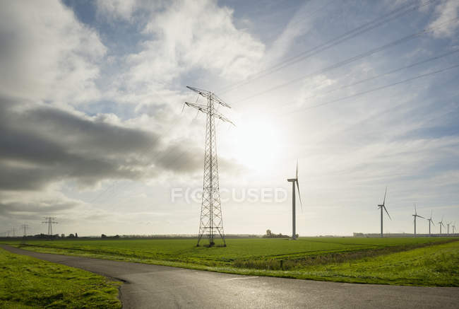 Wind turbines early in the morning, Rilland, Zeeland, Netherlands, Europe — Stock Photo