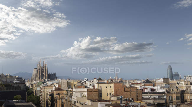 Sagrada Familia Cathedral and Agbar tower, Barcelona skyline, Catalonia, Spain, Europe — Stock Photo