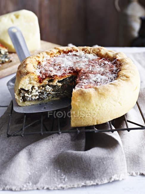 Pizza de plato hondo de Chicago, en refrigeración rack, primer plano - foto de stock