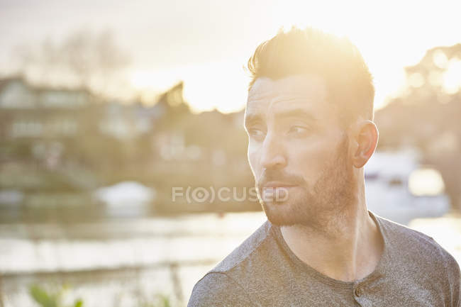 Portrait of bearded young adult man outdoors — Stock Photo