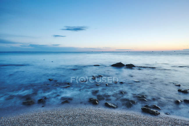 Long exposure of sunset over sea, Odessa, Odessa Oblast, Ukraine, Europe — Stock Photo