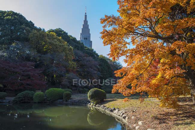 Tokyo town hall seen from Shinjuku Gyoen National Garden, Tokyo — Photo de stock