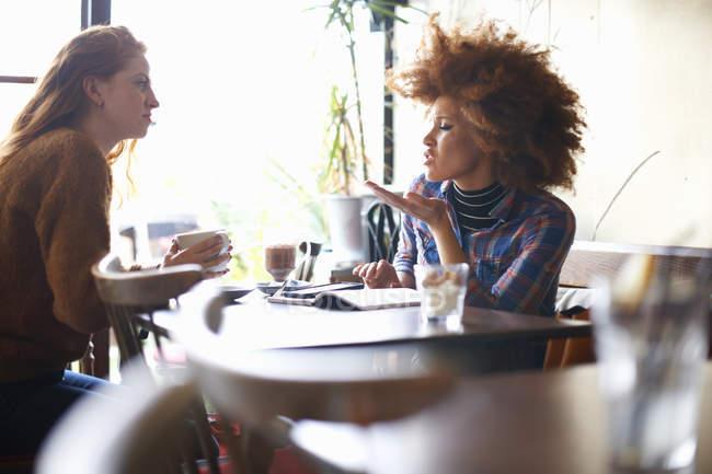Vista lateral de amigas conversando no café — Fotografia de Stock