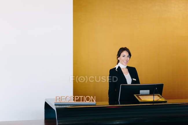 Front view of Hotel receptionist — Stock Photo
