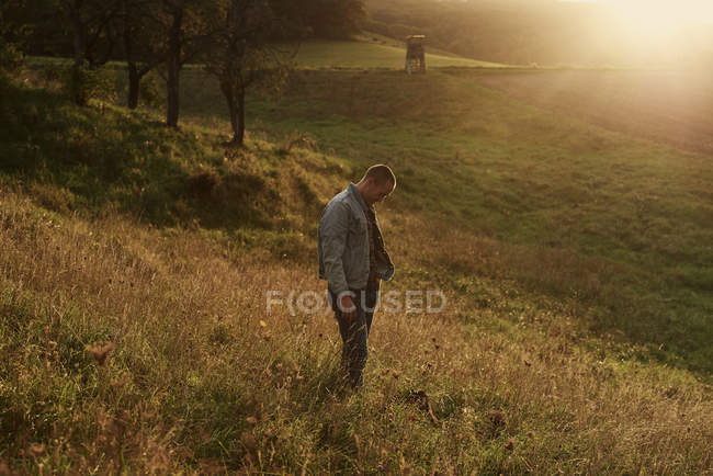 Mid adult man standing on hillside at sunset — Stock Photo