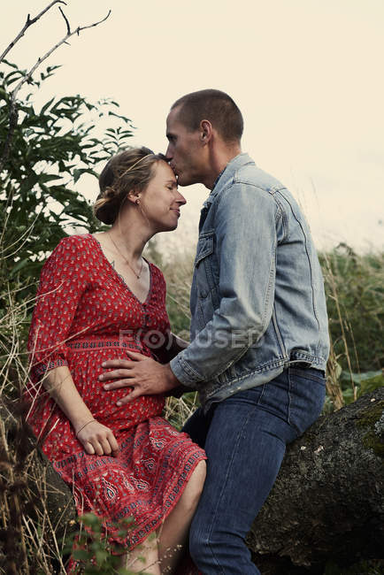 Hombre besando frente esposa embarazada en tronco de árbol - foto de stock