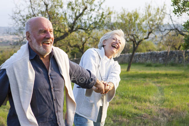 Senior couple walking in rural setting, holding hands, fooling around — Stock Photo