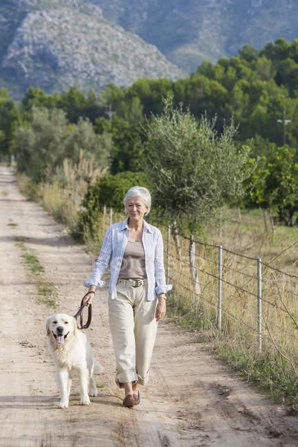 Portrait of senior woman walking pet dog — Stock Photo