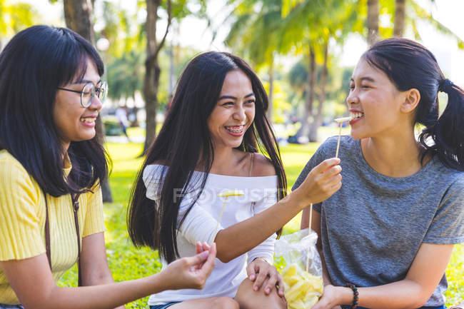 Друзья, наслаждающиеся закусками в парке, Бангкок, Таиланд — стоковое фото
