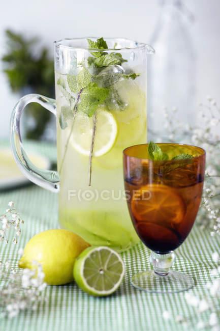 Кувшин и стекла лимона и Лайма, сердечные, со свежими фруктами и лед, макро — стоковое фото