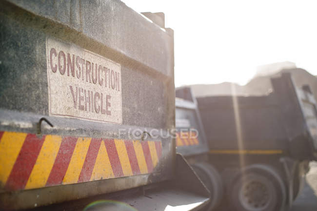 Constructions vehicles in quarry, close-up — Stock Photo