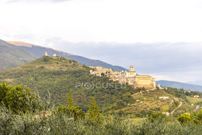 Distant landscape view of Basilica of Saint Francis of Assisi on hillside, Assisi, Umbria, Italy — Stock Photo