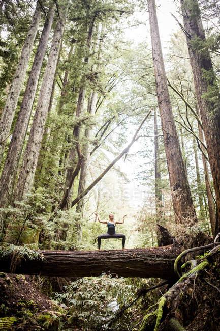 Jeune femme à pratiquer l'yoga sur log en forêt — Photo de stock