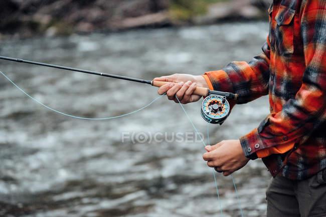 Обрізаний зору людини, Риболовля — стокове фото