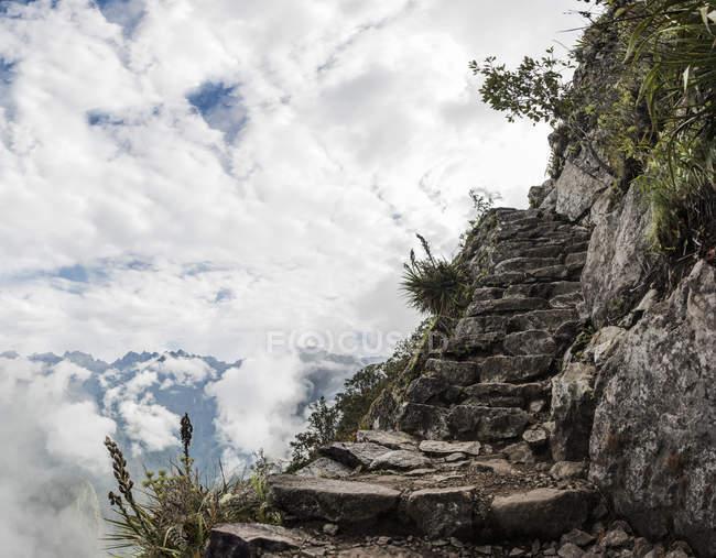 Passos na montanha, Machu Picchu, Cusco, Peru, América do Sul — Fotografia de Stock