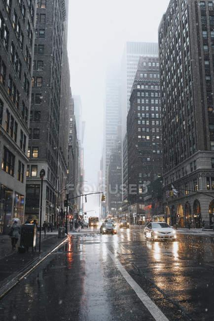 Paesaggio urbano dell'inverno a New York, Stati Uniti — Foto stock
