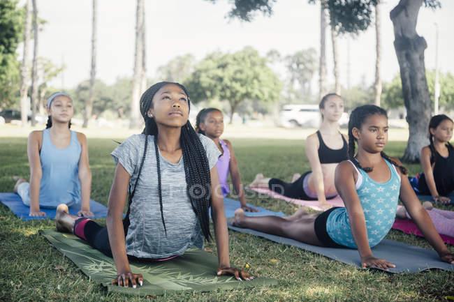 Девочки и девочки-подростки практикуют йогу лицом к лицу с собакой на школьном игровом поле — стоковое фото
