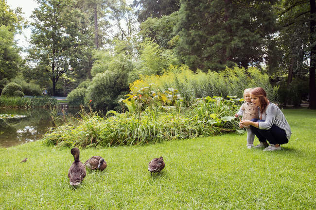 Mother and toddler daughter watching ducks in park — Stock Photo