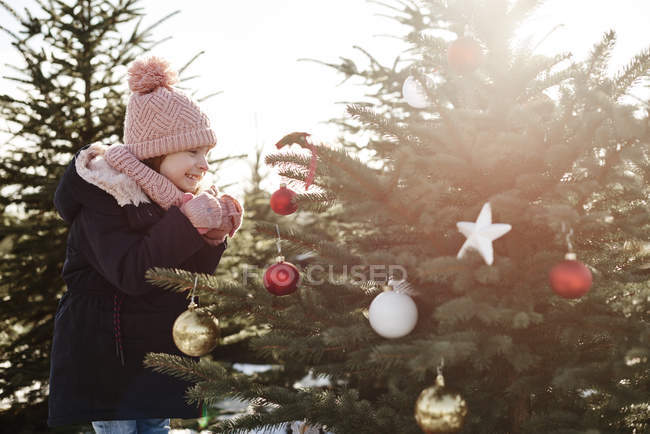 Girl looking at baubles on forest christmas tree - foto de stock