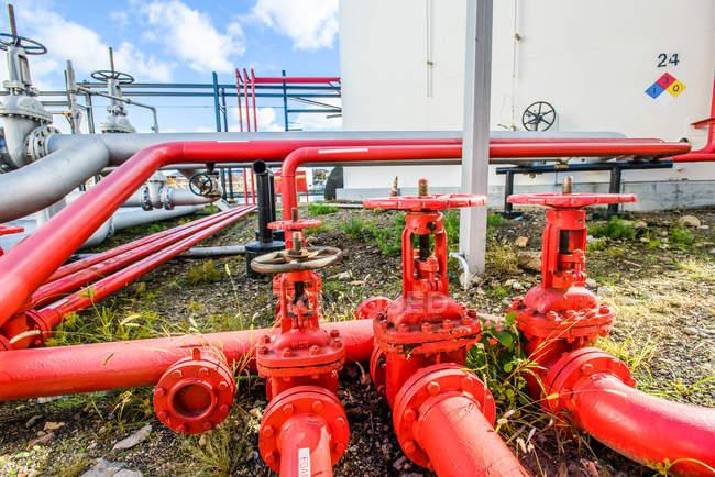 Красные промышленные трубопроводные клапаны на биотопливе — стоковое фото