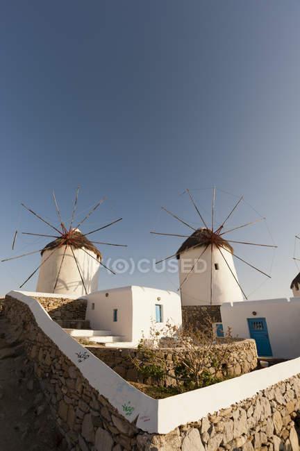 Windmühlen, Mykonos-Stadt, Kykladen, Griechenland — Stockfoto