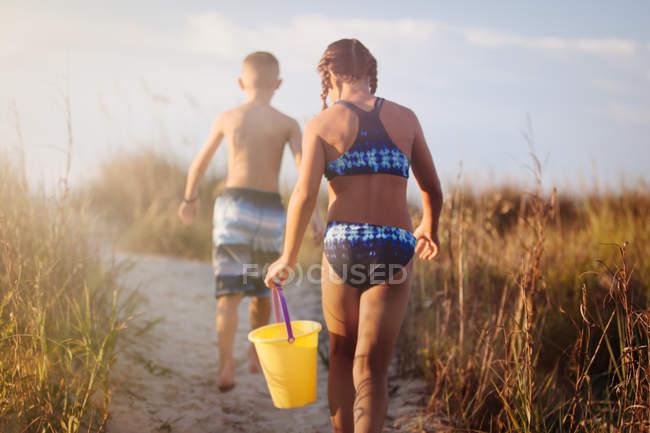 Vista posterior de los niños y niñas caminando sobre duna cubierta de hierba, North Myrtle Beach, Carolina del sur, Estados Unidos, América del norte - foto de stock
