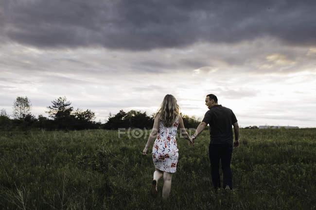 Visão traseira do casal romântico de mãos dadas no campo — Fotografia de Stock