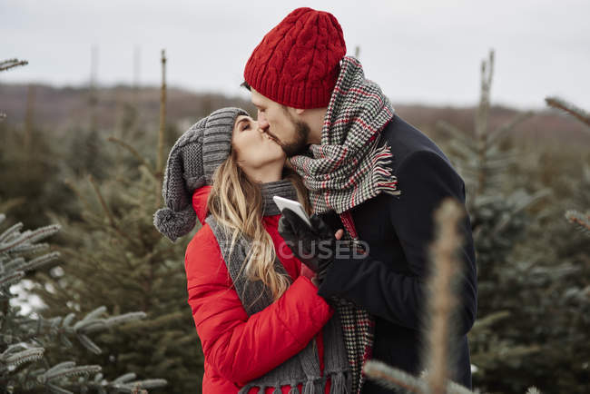 Romantic young couple kissing while shopping for christmas tree from forest — Stock Photo