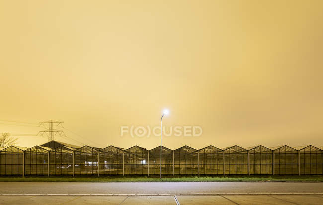 Greenhouse at night, in Westland,  area with the highest concentration of greenhouses in Netherlands — Stock Photo