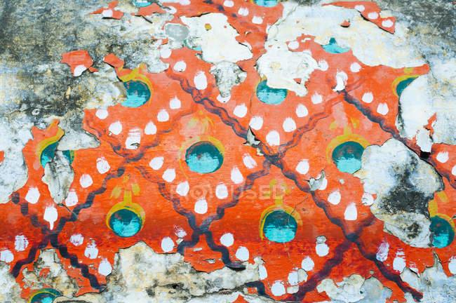 Peeling paint detail on temple wall, Trichy, Tamil Nadu — Stock Photo