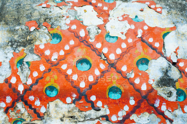 Peeling paint detail on temple wall, Trichy, Tamil Nadu — Stock Photo