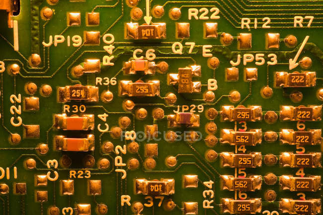 High angle view of green circuit board, close up — Stock Photo