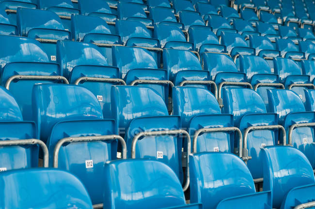 View of blue seats in row at stadium — Stock Photo