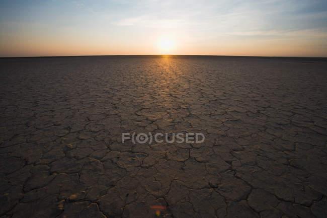 Terre fissurée et soleil à l'horizon, Cap Nord, Afrique du Sud — Photo de stock
