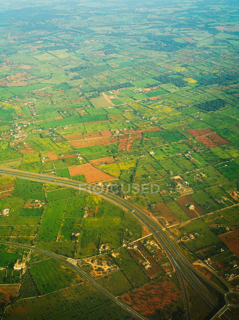 Aerial view of fields, roads and buildings in Mallorca, Spain — Stock Photo