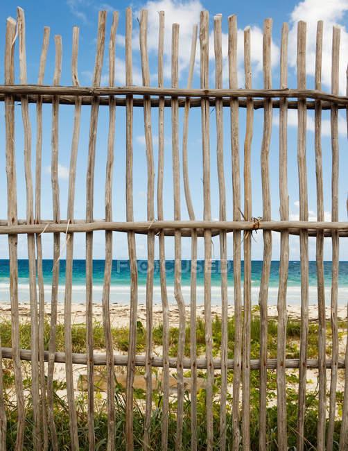 Вид на деревянный забор на пляже — стоковое фото