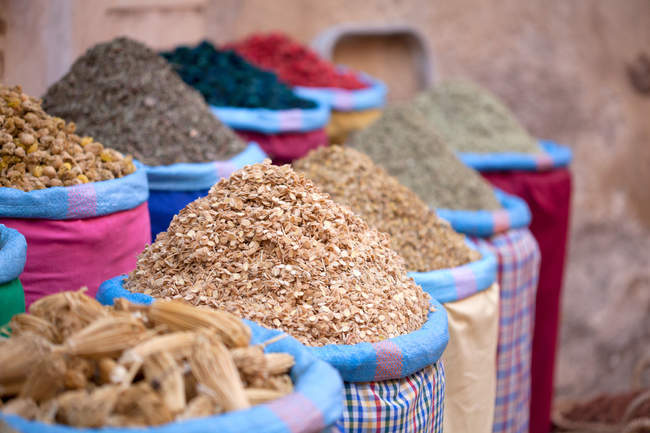 Dried fruits in sacks at market on street in morocco — Stock Photo