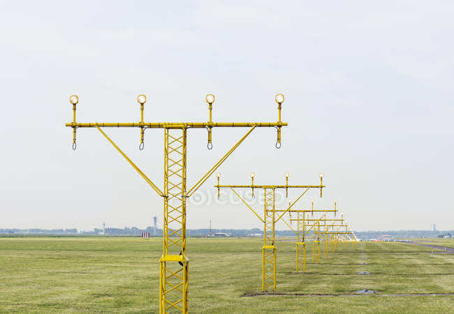 Runway landing lights, Schiphol, North Holland, Netherlands